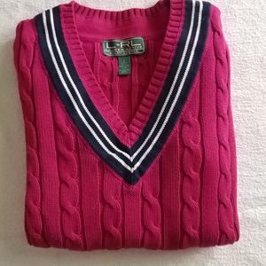 L-RL Lauren Active v-neck cotton sweater, small